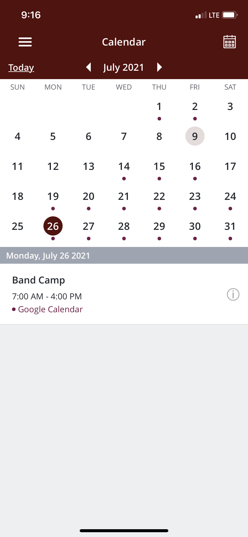 View the band calendar